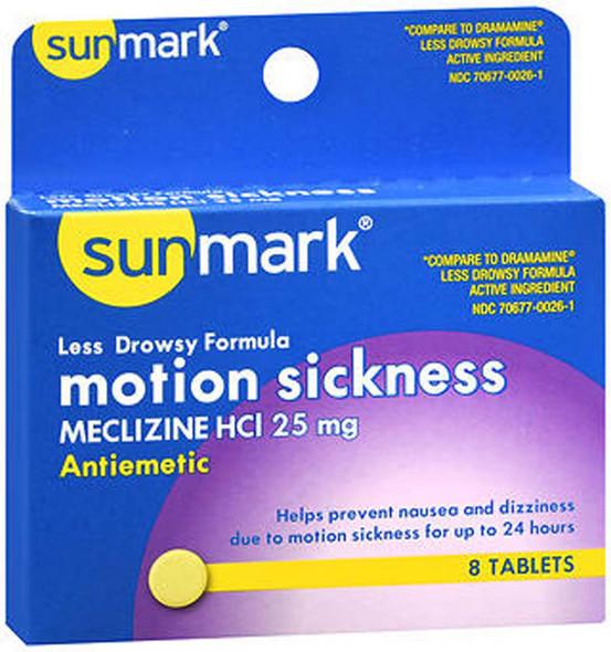 Sunmark Motion Sickness 25 mg Tablets Less Drowsy Formula - 8 ct