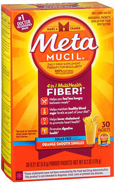 Meta Mucil 4 in 1 MultiHealth Fiber Supplement Powder Sugar Free Orange Smooth - 30 Packets