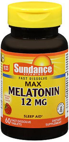 Sundance Vitamins Max Melatonin 12 mg Natural Berry Flavor - 60 Tablets
