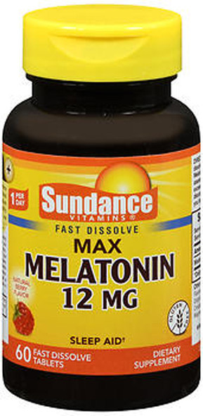 Sundance Vitamins Max Melatonin 12 mg Natural Berry Flavor - 60 Tablets