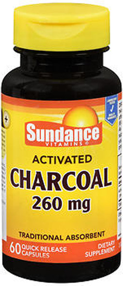 Sundance Vitamins Activated Charcoal 260 mg Dietary Supplement Quick Release Capsules - 60 ct