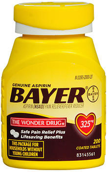 Bayer Aspirin 325 mg Coated Tablets - 200 ct