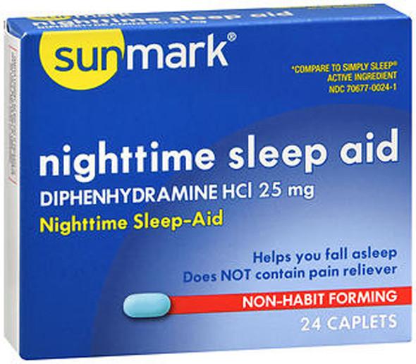 Sunmark Nighttime Sleep Aid 25 mg Caplets - 24 ct