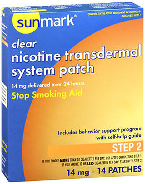 Sunmark Nicotine Transdermal System Step 2 - 14 mg Patches - 14 ct