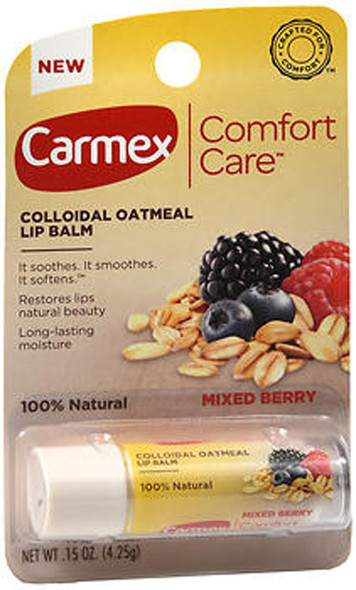 Carmex Comfort Care Colloidal Oatmeal Lip Balm Mixed Berry .15 oz tubes - 12 ct