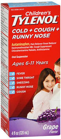 Tylenol Children's Cold + Cough + Runny Nose Oral Suspension Grape - 4 oz
