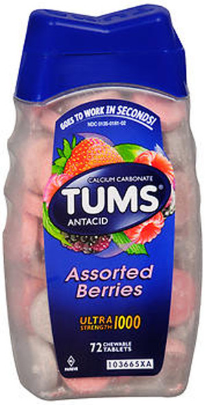 Tums Ultra 1000 Tablets Assorted Berries - 72 ct