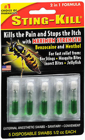 Sting-Kill Benzocaine Bee Sting Swabs Disposable - 5 ct