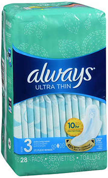 Always Ultra Thin Pads with Flexi-Wings Extra Long Super Absorbency Size 3 - 28 ct