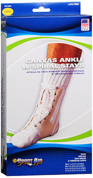 Sport Aid Canvas Ankle Support With Spiral Stays LG - 1 ea.