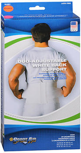 Sport Aid Duo-Adjustable White Back Support XL - each
