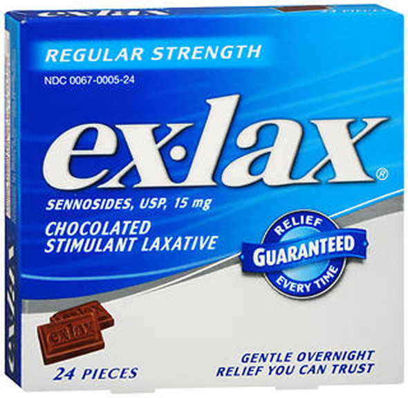 Ex-Lax Chocolated Stimulant Laxative Pieces Regular Strength - 24 Tablets