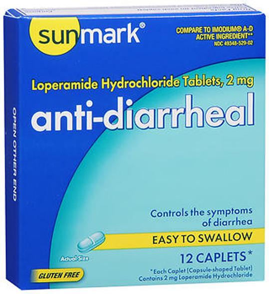 Sunmark Anti-Diarrheal Caplets - 12 ct