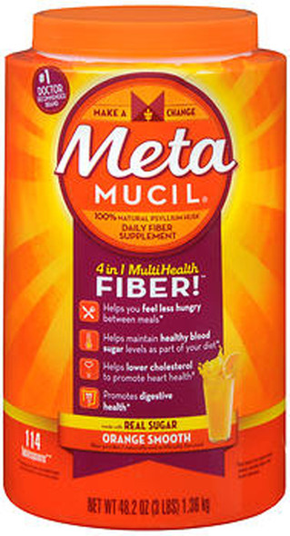 Meta Mucil 4 in 1 MultiHealth Fiber Supplement Powder Orange Smooth - 48.2 oz