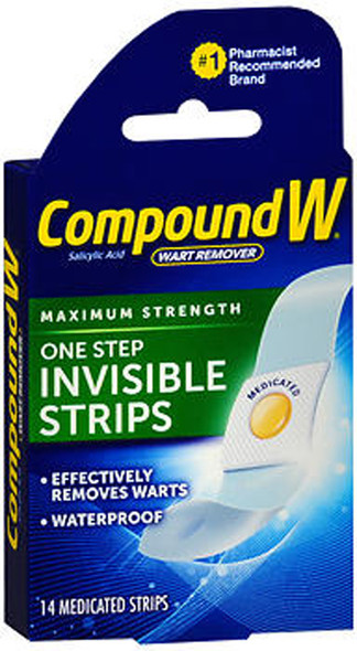 Compound W One Step Invisible Strips Wart Removal - 14 Strips