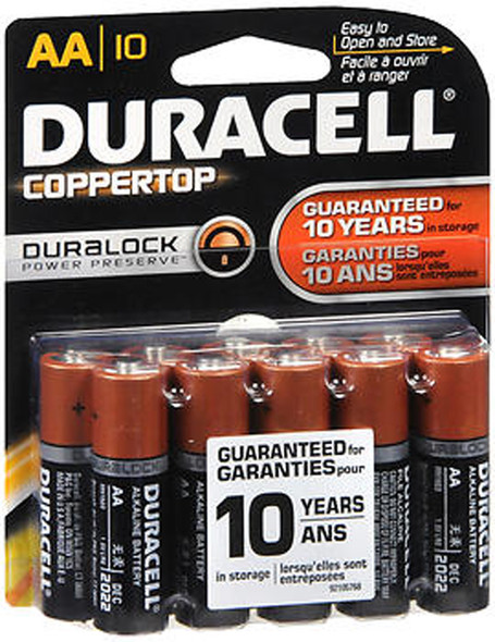 Duracell Coppertop Alkaline Batteries 1.5 Volt AA - 10ct