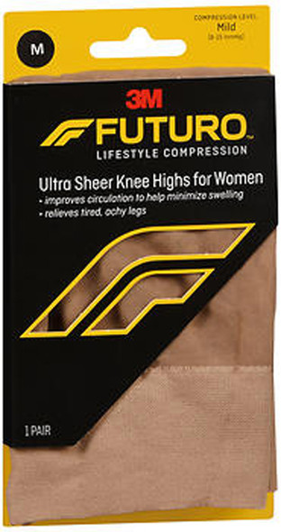 Futuro Energizing Ultra Sheer Knee Highs For Women Medium Nude Mild