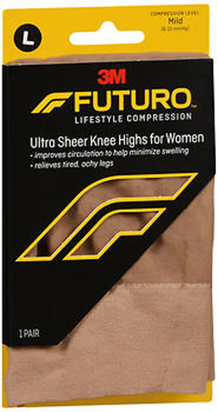 Futuro Ultra Sheer Knee Highs for Women, Large Nude Mild - 1 Pr.