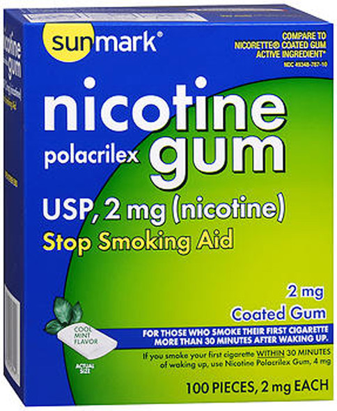 Sunmark Nicotine Polacrilex Coated Gum 2 mg Cool Mint - 100 ct