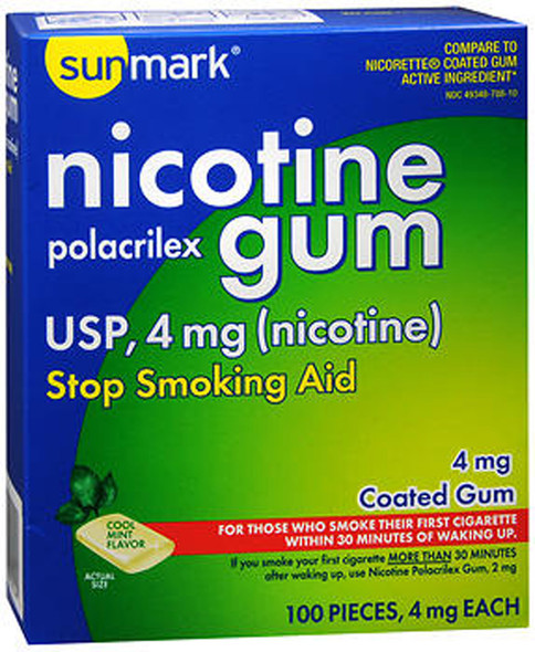 Sunmark Nicotine Polacrilex Coated Gum 4 mg Cool Mint - 100 ct