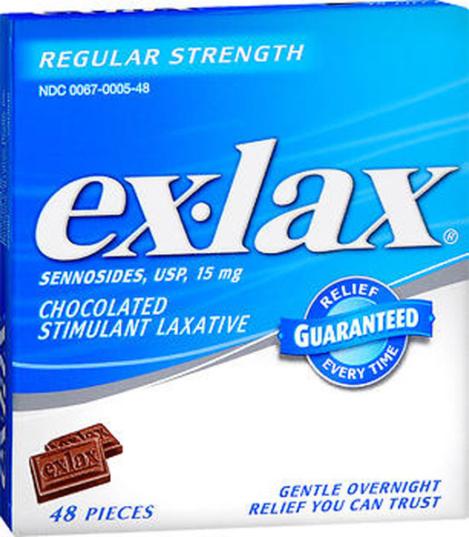Ex-lax Stimulant Laxative, Regular Strength, Chocolate, 48 ea.