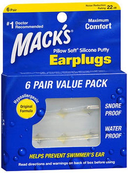 Mack's Pillow Soft Silicone Putty Earplugs - 6 Pair