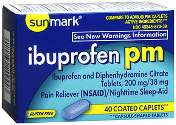 Sunmark Ibuprofen PM Coated Caplets - 40 ct