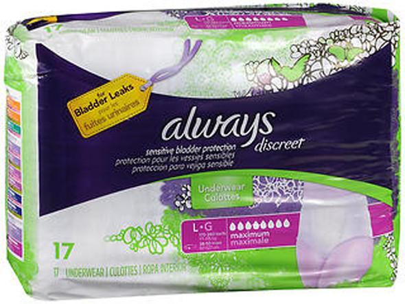 Always Discreet Underwear Maximum Absorbency Size Large - 17 each