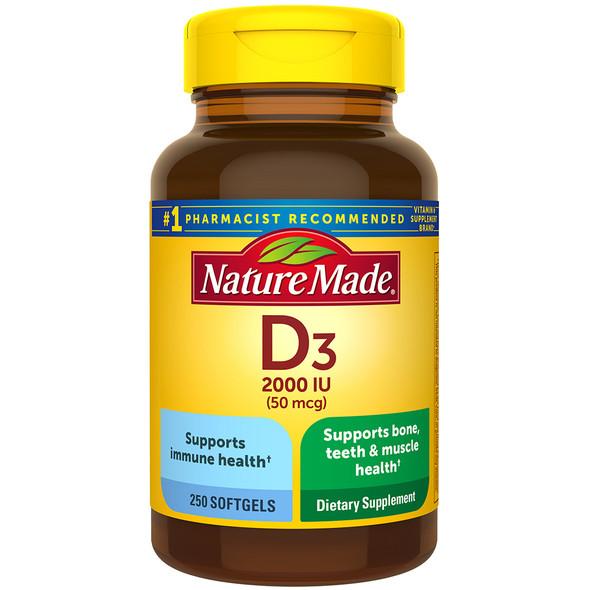 Nature Made Vitamin D3 2000 IU Dietary Supplement - 250 Liquid Softgel