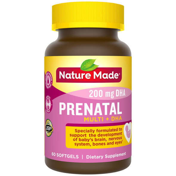 Nature Made Prenatal Multi + DHA 200 mg - 60 Liquid Softgels