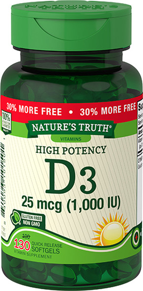 Nature's Truth High Potency Vitamin D3 1000 IU Quick Release Softgels - 130 ct