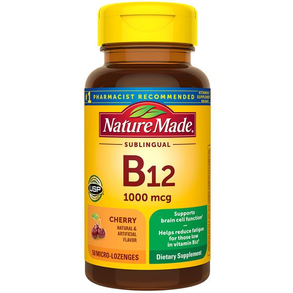 Nature Made B-12 1000 mcg Micro-Lozenges Cherry Flavor - 50 ct