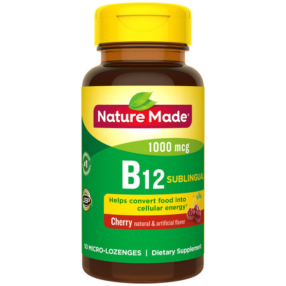 Nature Made B-12 1000 mcg Micro-Lozenges Cherry Flavor - 50 ct