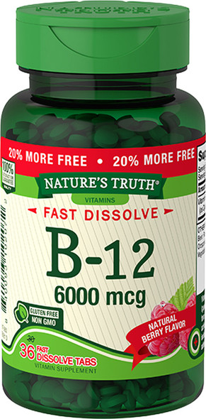 Nature's Truth Sublingual B-12 6000 mcg Fast Dissolve Tabs Natural Berry Flavor - 36 ct