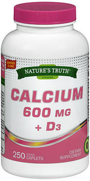 Nature's Truth Calcium 600 mg + D3 Dietary Supplement - 250 Caplets
