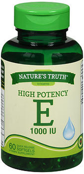 Nature's Truth High Potency E 1000 IU Vitamin Supplement - 60 Softgels