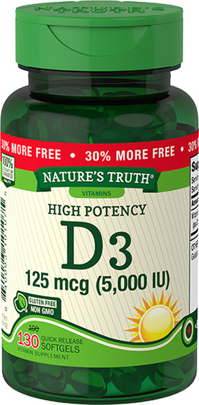 Nature's Truth High Potency Vitamin D3 5000 IU Quick Release Softgels - 130 ct