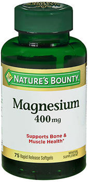 Nature's Bounty Magnesium 400 mg Mineral Supplement Rapid Release Softgels - 75 ct
