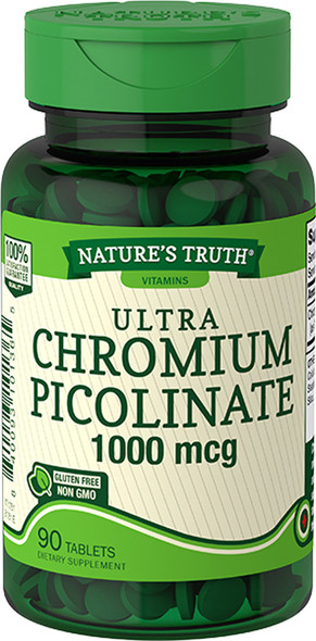 Nature's Truth Ultra Chromium Picolinate 1000 mcg Quick Release Tablets - 90 ct