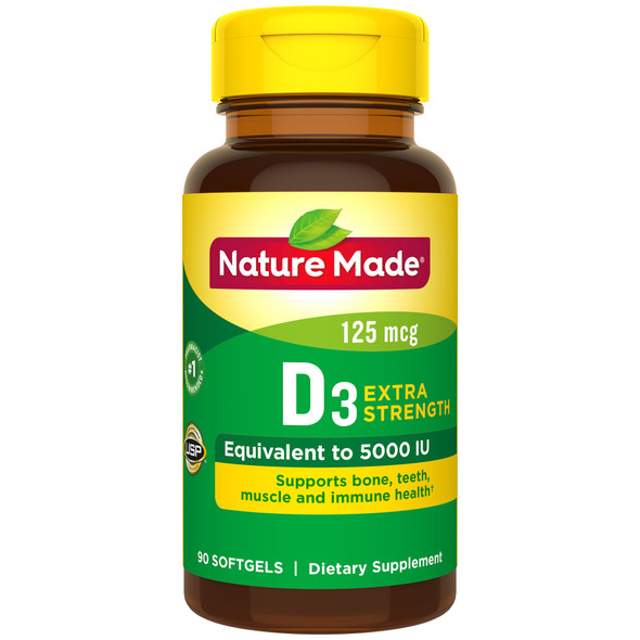 Nature Made Vitamin D3 5000 IU - 90 Liquid Softgels