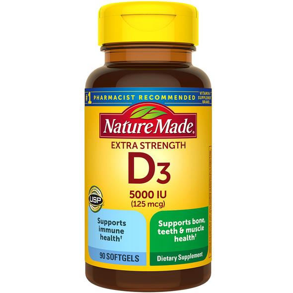 Nature Made Vitamin D3 5000 IU - 90 Liquid Softgels
