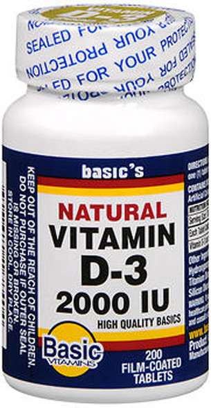 Basic Vitamins Natural Vitamin D-3 2000 IU - 200 Film-Coated Tablets