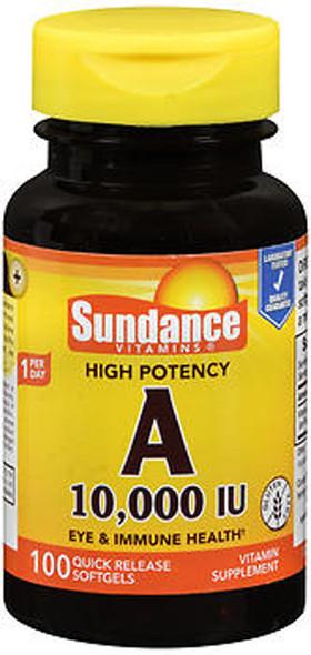 Sundance Vitamins High Potency A 10,000 IU Vitamin Supplement Quick Release Softgels - 100 ct
