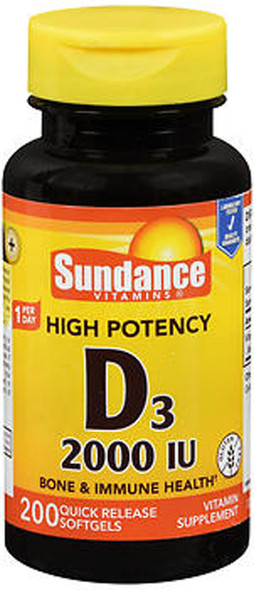 Sundance Vitamins High Potency D3 2000 IU Vitamin Supplement Quick Release Softgels - 200 ct