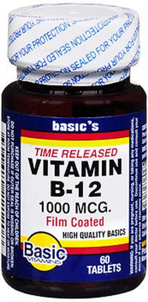 Basic Vitamins Vitamin B-12 1000 mcg Tablets Time Released - 60 ct