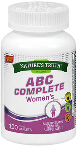 Nature's Truth ABC Complete Women's Multivitamin Mineral Supplement - 100 Coated Caplets