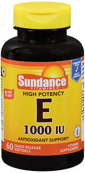 Sundance Vitamins High Potency E 1000 IU Vitamin Supplement Quick Release - 60 Softgels