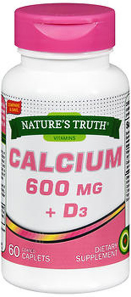 Nature's Truth Calcium 600 mg + D3 - 60 Coated Caplets