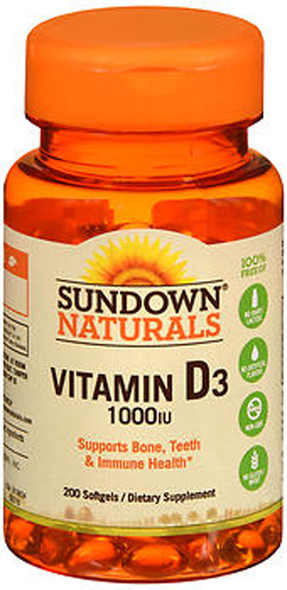 Sundown Naturals High Potency D3 Vitamin D 1000 IU Softgels - 200 ct
