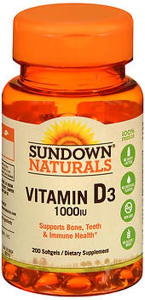 Sundown Naturals High Potency D3 Vitamin D 1000 IU Softgels - 200 ct
